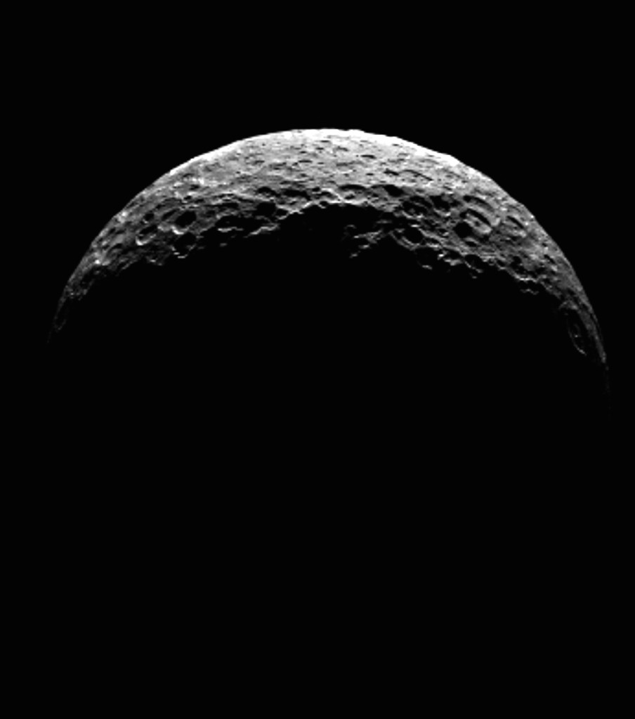 A processed still image with Ceres as a crescent. Image Credit: NASA/JPL-Caltech/UCLA/MPS/DLR/IDA