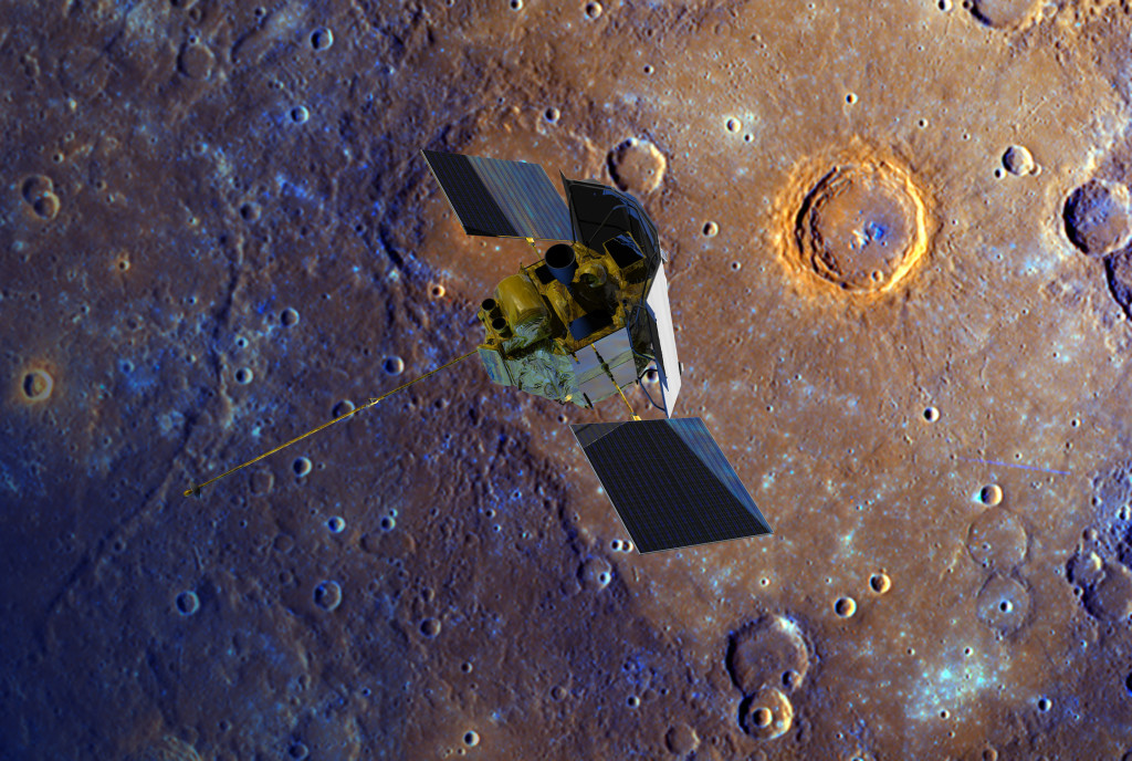 A depiction of the MESSENGER spacecraft is shown flying over Mercury's surface displayed in enhanced color. Image Credit: NASA/Johns Hopkins University Applied Physics Laboratory/Carnegie Institution of Washington