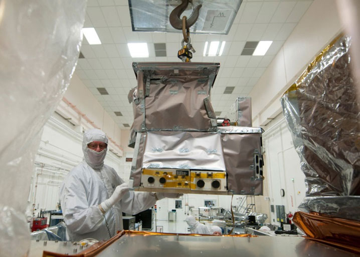 The CrIS instrument is moved into position just prior to integration with the JPSS-1 spacecraft. Image Credit: Ball Aerospace & Technologies Corp.