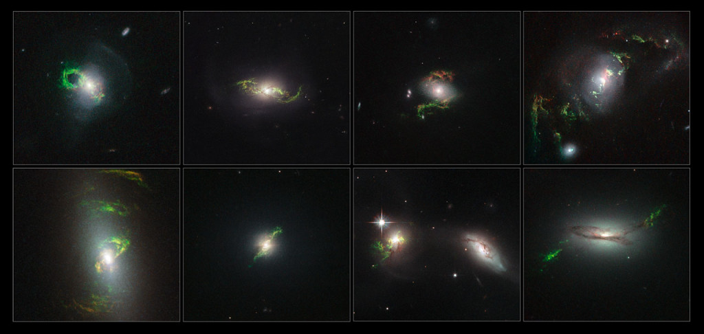 These Hubble Space Telescope images reveal a set of bizarre, greenish looping, spiral, and braided shapes around eight active galaxies. The galaxies host a bright quasar that may have illuminated the structures. Image Credit: NASA, ESA, and W. Keel (University of Alabama, Tuscaloosa)