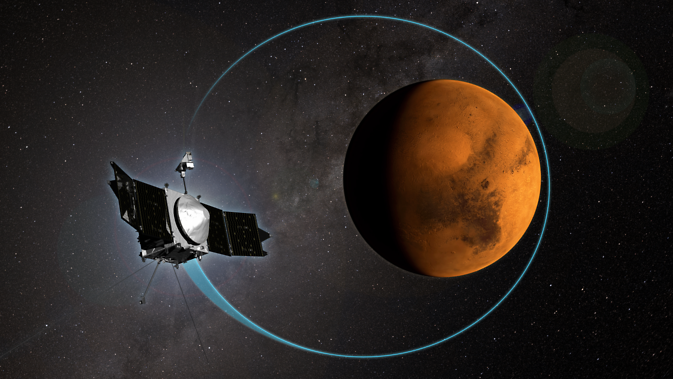 This artist's concept shows NASA's MAVEN mission, the first mission devoted to understanding the Martian upper atmosphere. MAVEN completed its 1,000th orbit around the Red Planet on April 6, 2015. Image Credit: NASA/Goddard