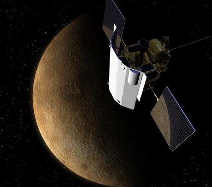 Illustration of NASA's MESSENGER spacecraft at Mercury.