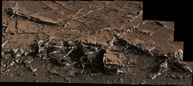 "This March 18, 2015, view from the Mast Camera on NASA's Curiosity Mars rover shows a network of two-tone mineral veins at an area called ""Garden City"" on lower Mount Sharp. Image Credit: NASA/JPL-Caltech/MSSS"
