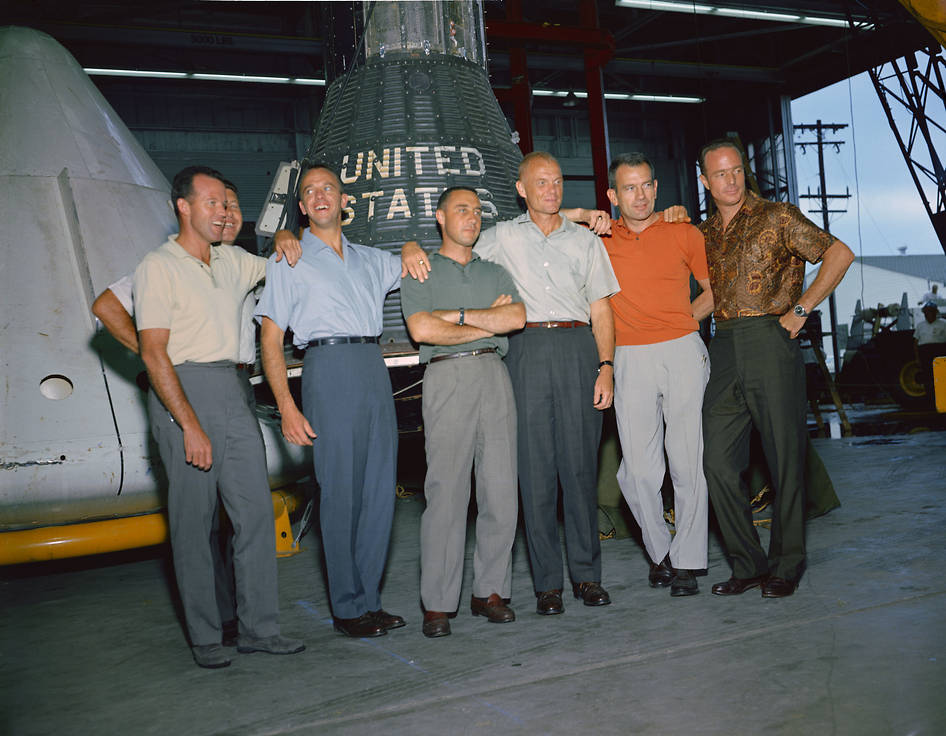This group photo of the original Mercury astronauts was taken in June 1963 at the Manned Spacecraft Center (MSC), now Johnson Space Center, in Houston, Texas. The astronauts are, left-to-right: Cooper, Schirra, Shepard, Grissom, Glenn, Slayton and Carpenter. Image Credit: NASA