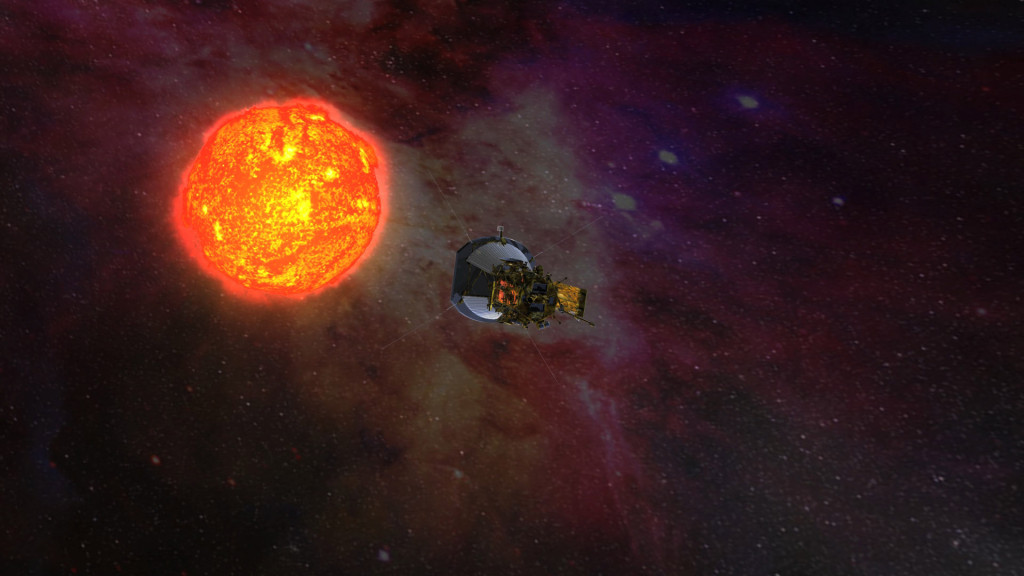 Artist rendering of Solar Probe Plus, solar panels folded into the shadows of its protective shield, as it gathers data on its approach to the sun. Image Credit: NASA/JHUAPL