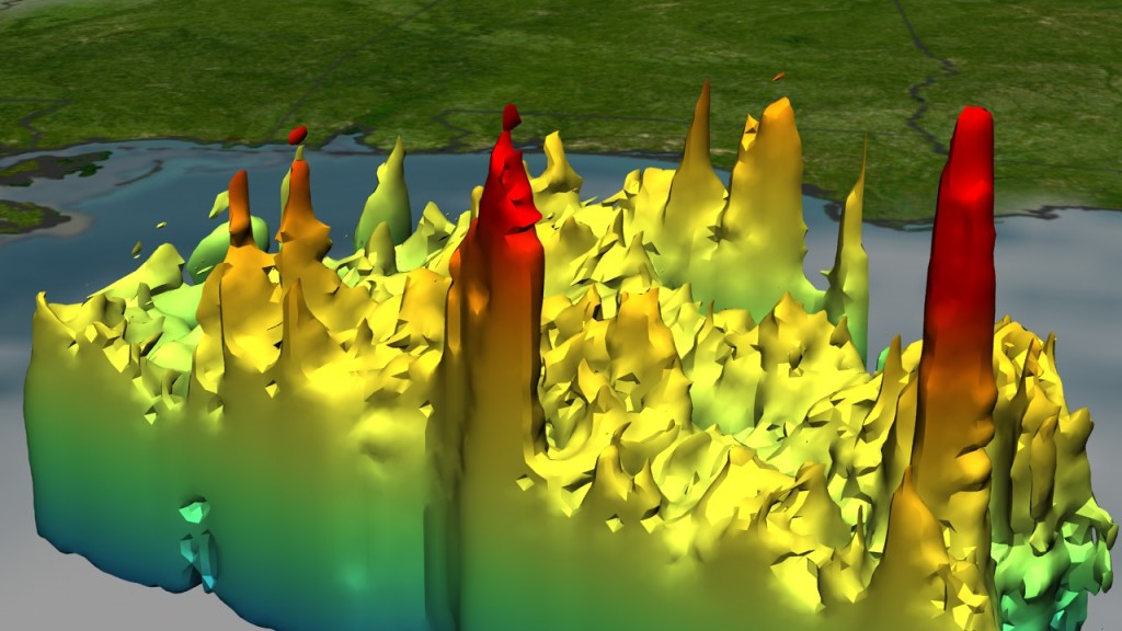 TRMM observes the 3-D rain structure of Hurricane Katrina on Aug. 28, 2005, including the red spikes known as hot towers that appear where the storm is most intense. The center tower is located on the hurricane's eyeball. Image Credit: NASA