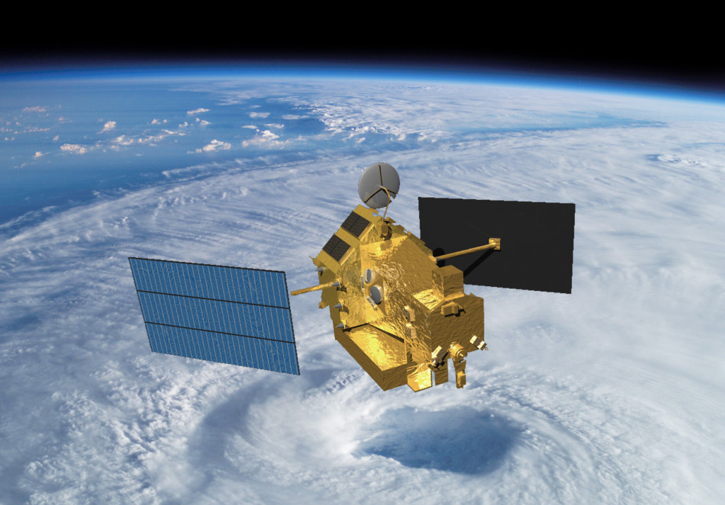 This artist rendering shows the TRMM satellite orbiting over a hurricane's eyewall. Image Credit: NASA