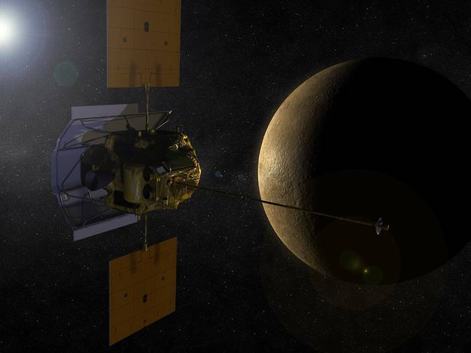 Artist concept of the MESSENGER spacecraft in orbit around planet Mercury. Image Credit: NASA
