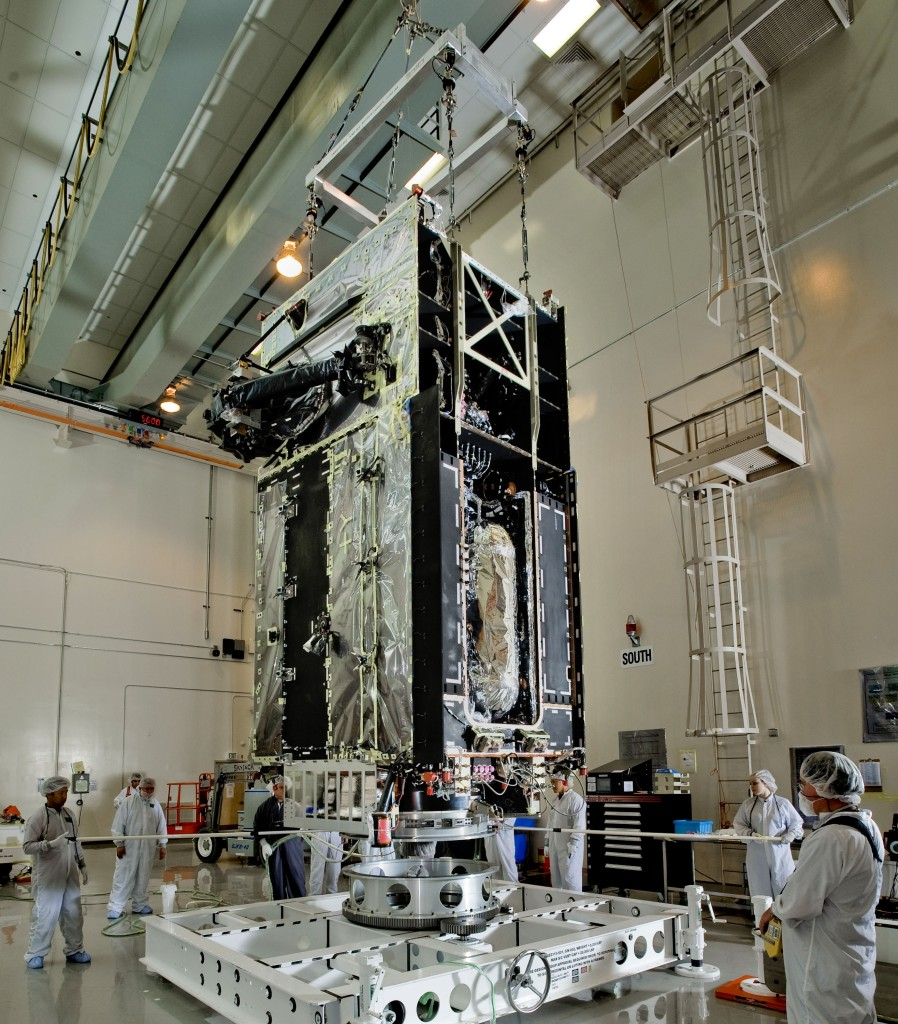 Shown here is the first Space Based Infrared System (SBIRS) geosynchronous orbit (GEO-1) spacecraft in preparation for final factory work at Lockheed Martin's facilities in Sunnyvale, California. Image Credit: Lockheed Martin Space Systems