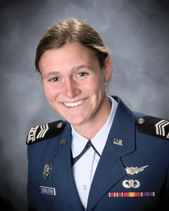 Cadet 1st Class Rebecca Esselstein, a Rhodes and Marshall Scholar, was named the top graduate for the Class of 2015 May 22. Image Credit: U.S. Air Force Academy