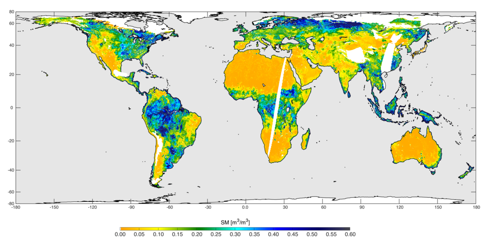 High-resolution global soil moisture map from SMAP's combined radar and radiometer instruments, acquired between May 4 and May 11, 2015, during SMAP's commissioning phase. The map has a resolution of 5.6 miles (9 kilometers). Image Credit: NASA/JPL-Caltech/GSFC