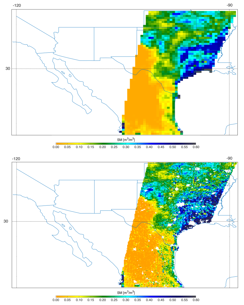 Southern U.S. SMAP soil moisture retrievals from April 27, 2015, when severe storms were affecting Texas. Top: radiometer data alone. Bottom: combined radar and radiometer data with a resolution of 5.6 miles (9 kilometers). Image Credit: NASA/JPL-Caltech/GSFC