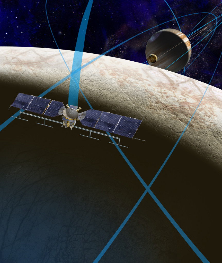 This artist's rendering shows a concept for a future NASA mission to Europa in which a spacecraft would make multiple close flybys of the icy Jovian moon, thought to contain a global subsurface ocean. Image Credit: NASA/JPL-Caltech