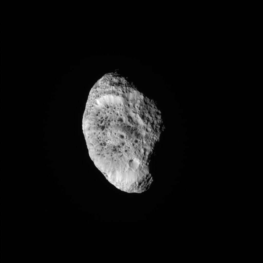 Hyperion on September 26, 2005. Image Credit: NASA/JPL/Space Science Institute