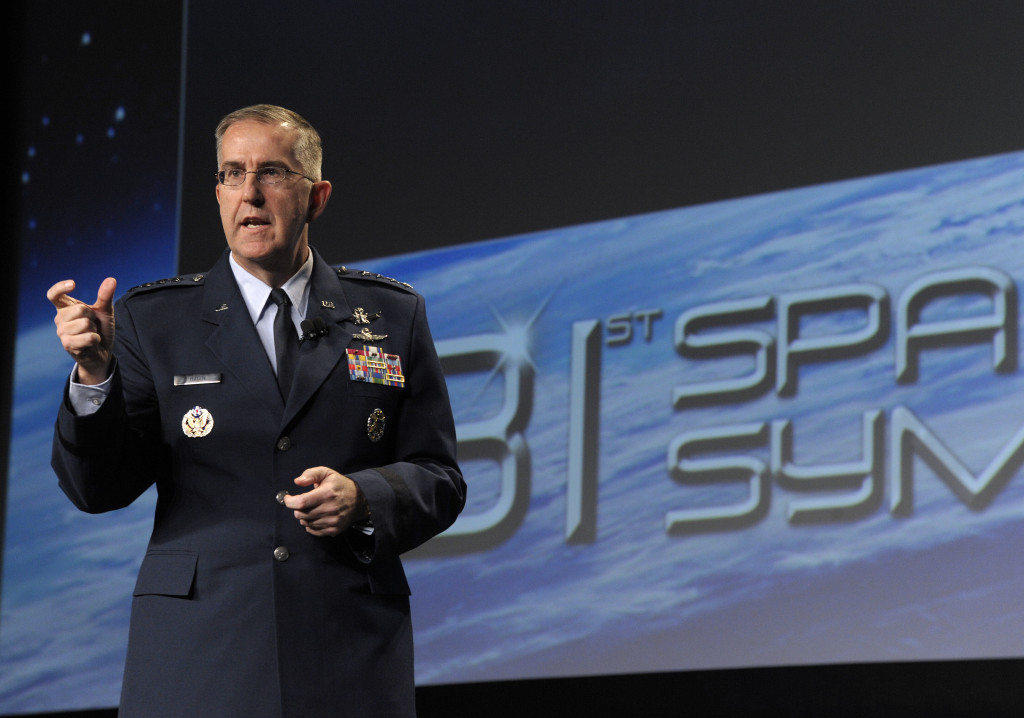 General John E. Hyten, commander of Air Force Space Command, recently identified several key actions to be taken to ensure U.S. strength in space for the future. On Apr. 14 at the 2015 Space Symposium in Colorado Springs, Colo., he discussed his command priorities, changes in store for space crews, and new initiatives to assure access to space. Image Credit: Air Force/Duncan Wood
