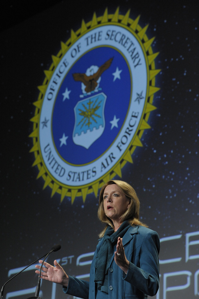 Secretary of the Air Force Deborah James speaks to an audience of military and space professionals at the 31st Annual Space Symposium, April 16, 2015, in Colorado Springs, Colo. The annual event brings together space leaders from around the world to discuss, address and plan for the future of space. Image Credit: Air Force/Duncan Wood