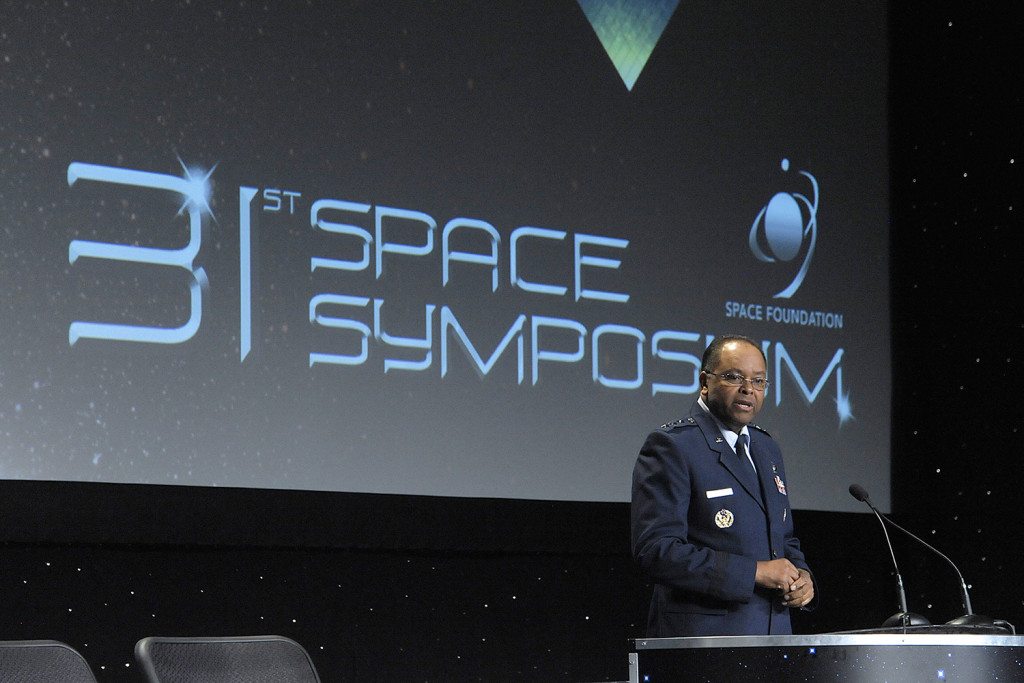 Lt. Gen. Samuel A. Greaves, commander of the Air Force's Space and Missile Systems Center, spoke at the 2015 Space Symposium in Colorado Springs, Colo., on April. 16. He highlighted how space is essential to the warfighter's capability; how space is changing, and how SMC must change; launch competition and new development; and space risk reduction for resilience and affordability. Image Credit: U.S. Air Force/Duncan Wood