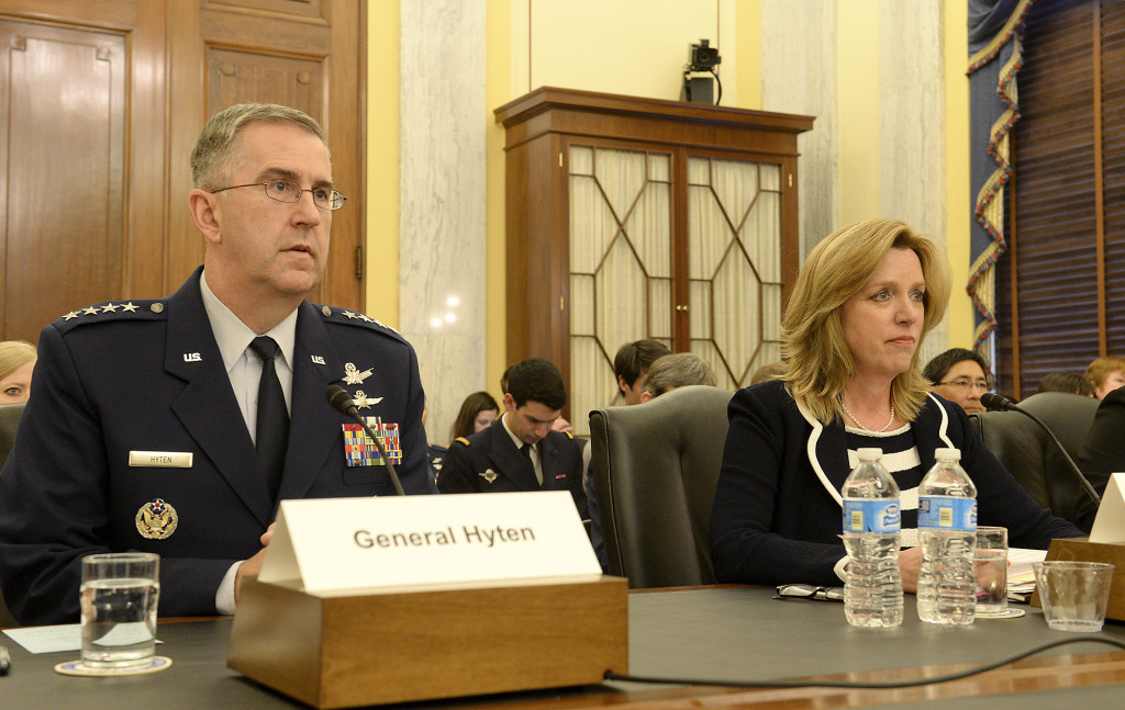Secretary of the Air Force Deborah Lee James and Gen. John E. Hyten, commander, Air Force Space Command, testify before the Senate Armed Services Committee, Subcommittee on Strategic Forces in Washington, D.C., April 29, 2015. Image Credit: U.S. Air Force/Scott M. Ash