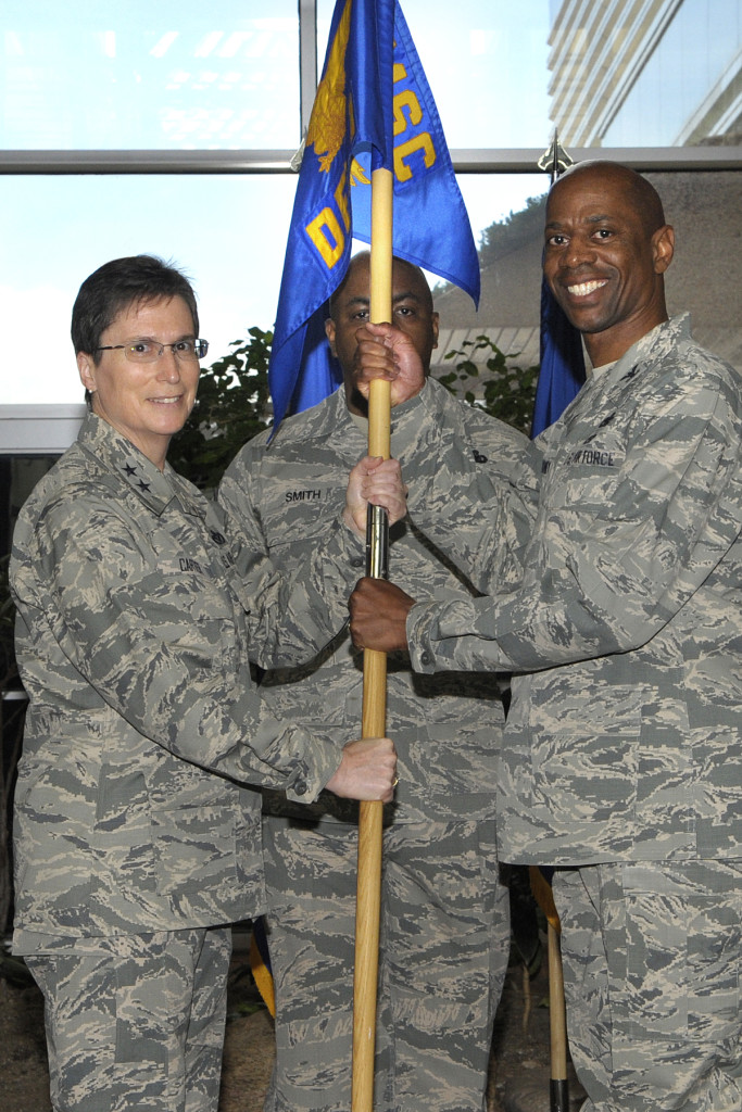 Air Force Installation and Mission Support Center activated Detachment 1 at Air Force Space Command in a ceremony at Peterson Air Force Base on May 12. Maj. Gen. Theresa Carter, AFIMSC commander, presided over the ceremony as Col. Nathan Mooney assumed command of the newly established detachment. Image Credit: U.S. Air Force/Duncan Wood