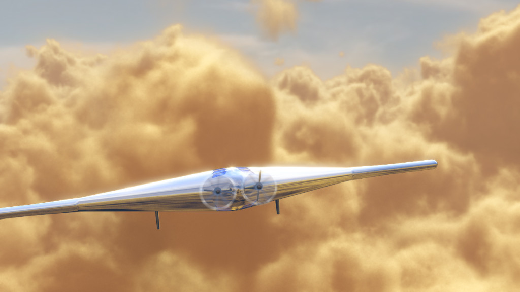 Artist's concept of the Venus Atmospheric Maneuverable Platform (VAMP) is shown here flying through the thick clouds surrounding Venus. A delta-wing shaped inflatable air vehicle with a 55 meter wing span, VAMP bears a strong resemblance to the Northrop Grumman-designed Flying Wing, B-2 Spirit and X-47B air vehicles. VAMP will cruise through the atmosphere some 32 to 42 miles above the surface, gathering data for about a year's time. Image Credit: Northrop Grumman
