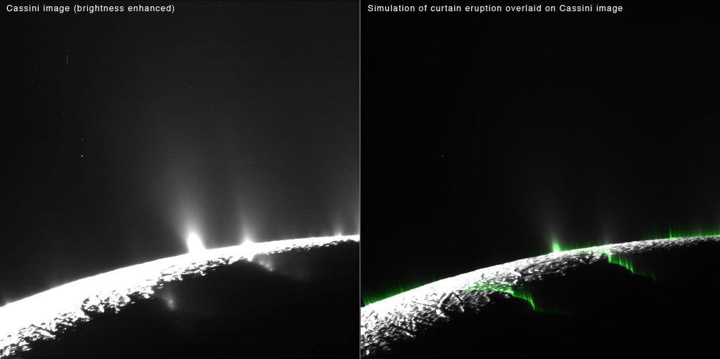 Recent research suggests much of the eruption activity on the surface of Saturn's moon Enceladus could be in the form of broad, curtain-like eruptions, rather than discrete jets. Image Credit: NASA/JPL-Caltech/Space Science Institute/Planetary Science Institute