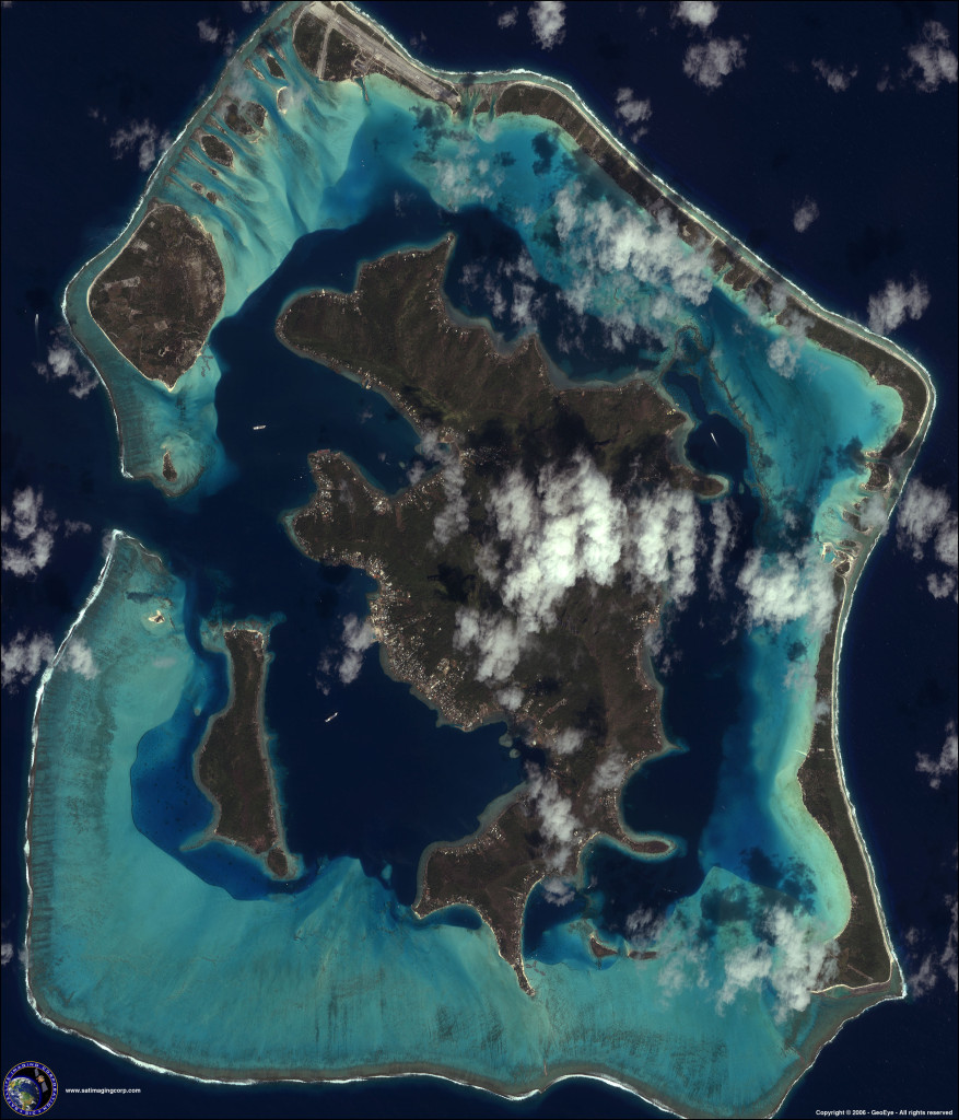 IKONOS was the first satellite to share public images of many of Earth's greatest beauties, including a photo of the Bora Bora islands in the French Polynesia collected on October 25, 2001. Image Credit: DigitalGlobe/Lockheed Martin