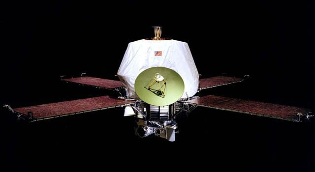 Based on a wide octagonal structure, these identical vehicles used a bipropellant propulsion system with a fixed thrust of 136 kilograms of orbital inserion around Mars. All scientific instrumentation on the spacecraft was mounted a on movable scan platform underneath the main bodies. The span of the spacecraft over its extended solar panels was 6.9 meters. Image Credit: NASA/JPL