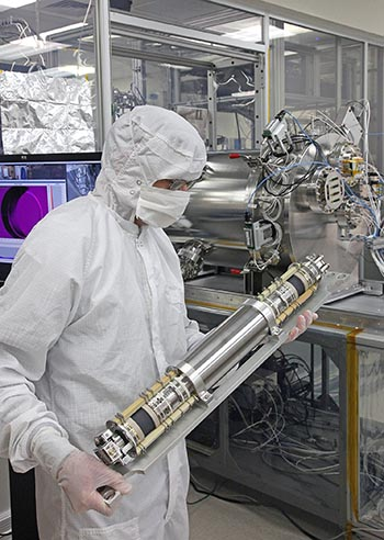 Southwest Research Institute's MAss Spectrometer for Planetary EXploration (MASPEX) is one of two SwRI instruments selected for a NASA mission to study the habitability of Europa, Jupiter's fourth largest moon. Scientists plan to look for potential plumes with SwRI's UVS instrument and then sample their composition with MASPEX. This spectrometer is by far the most sensitive such instrument ever to be flown in space. Image Credit: SwRI