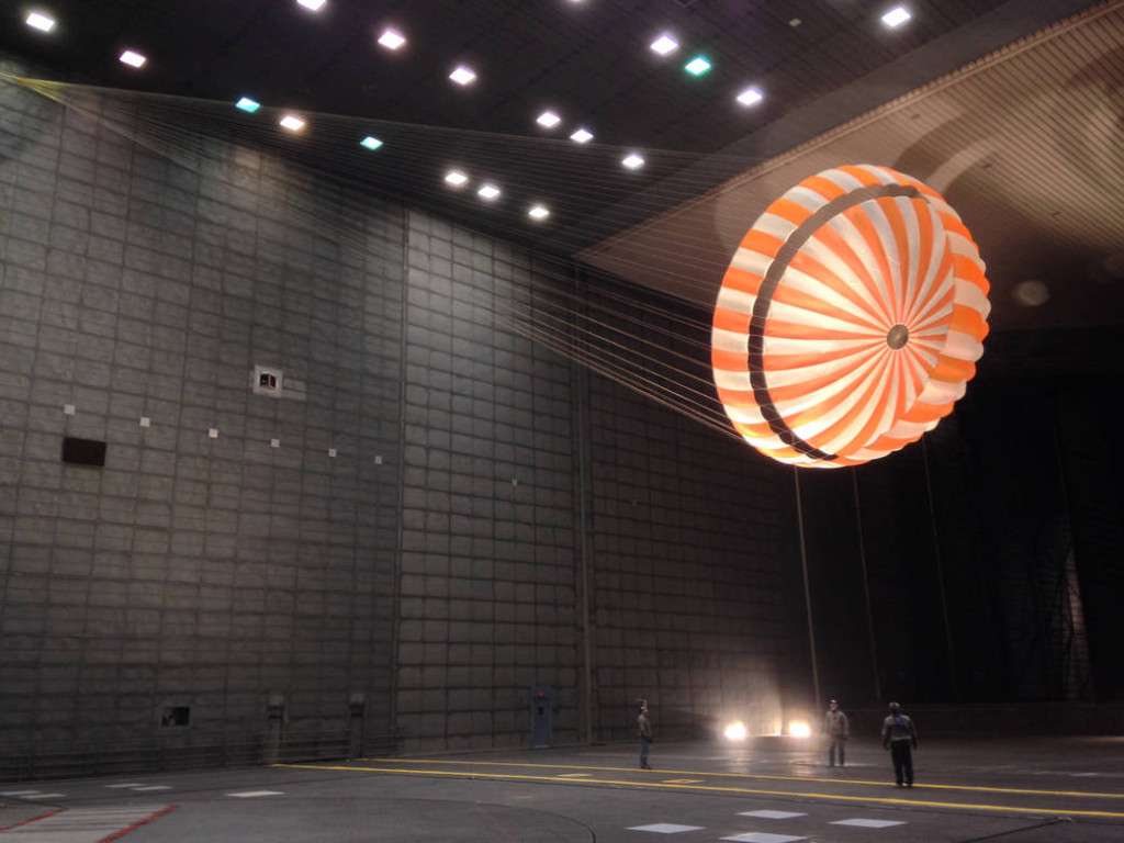 The parachute for NASA's InSight Mars mission being tested in a wind tunnel. Image Credit: NASA/JPL-Caltech/Lockheed Martin