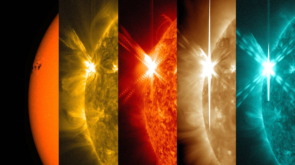 NASA's Solar Dynamics Observatory captured these images of a solar flare – as seen in the bright flash on the left – on May 5, 2015. Each image shows a different wavelength of extreme ultraviolet light that highlights a different temperature of material on the sun. By comparing different images, scientists can better understand the movement of solar matter and energy during a flare. From left to right, the wavelengths are: visible light, 171 angstroms, 304 angstroms, 193 angstroms and 131 angstroms. Each wavelength has been colorized. Image Credit: NASA/SDO/Wiessinger