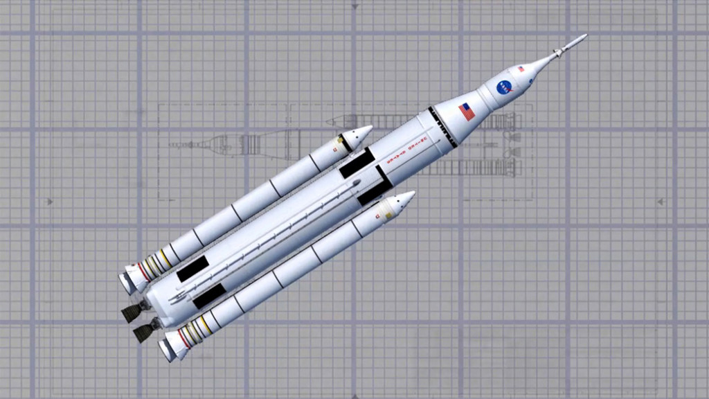 Artist concept of NASA's Space Launch System wireframe design. The SLS Program is kicking off its critical design review May 11 at NASA's Marshall Space Flight Center in Huntsville, Alabama. Image Credit: NASA/MSFC