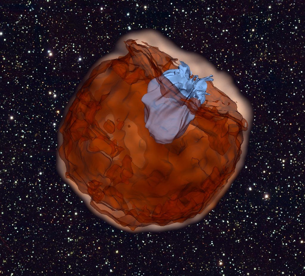 This computer simulation shows the debris of a Type Ia supernova (brown) slamming into its companion star (blue) at tens of millions of miles per hour. The interaction produces ultraviolet light that escapes as the supernova shell sweeps over the companion, a signal detected by Swift. Image Credit: UC Berkeley, Daniel Kasen