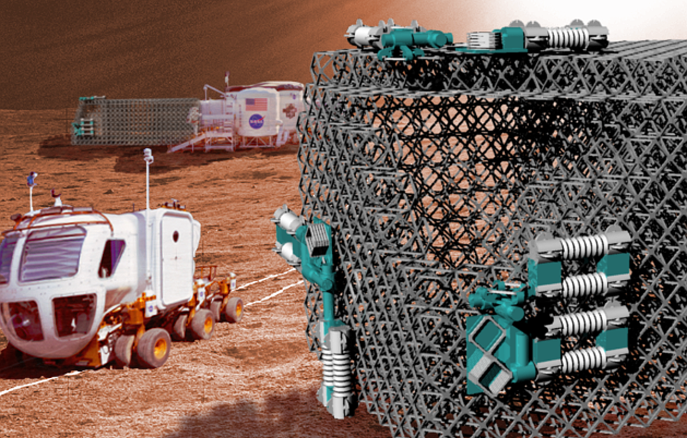 Artist conception of space structures robotically assembled from discrete building blocks. Image Credit: NASA