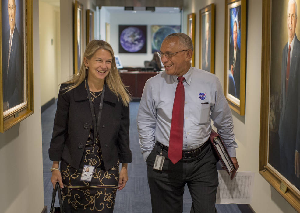 NASA Deputy Administrator Dr. Dava Newman walks to a meeting with NASA Administrator Charles Bolden, on Monday, May 18, 2015, her first day on the job at NASA Headquarters in Washington. Image Credit: NASA/Bill Ingalls