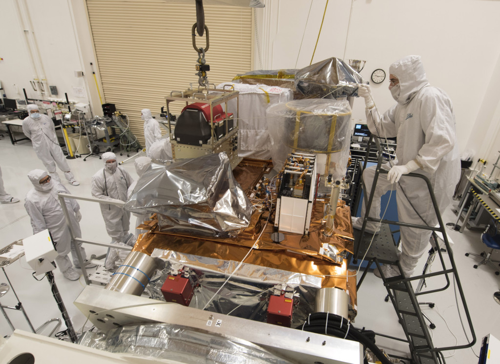 JPSS-1 has been powered-on for the first time, advancing the polar-orbiting environmental satellite toward environmental testing and delivery in 2016. Image Credit: Ball Aerospace