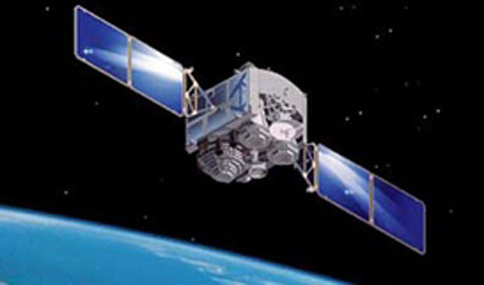 An artist's depiction of a Defense Satellite Communications System satellite on orbit is shown. Image Credit: U.S. Air Force