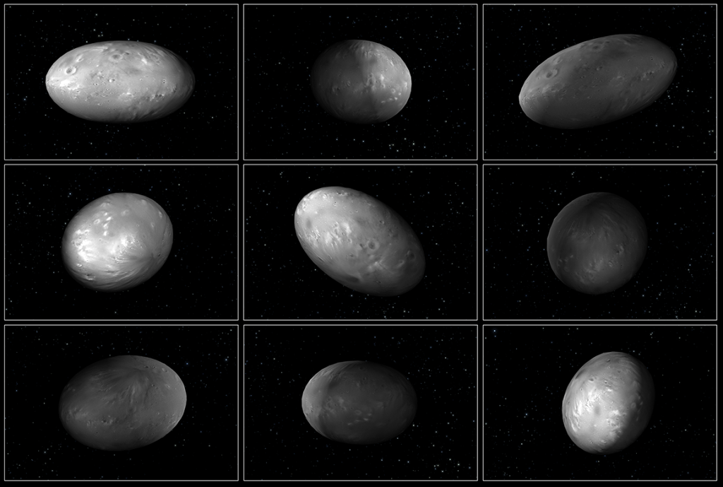 "This set of computer modeling illustrations of Pluto's moon Nix shows how the orientation of the moon changes unpredictably as it orbits the ""double planet"" Pluto-Charon. Image Credit: NASA/ESA/M. Showalter (SETI)/G. Bacon (STScI)"