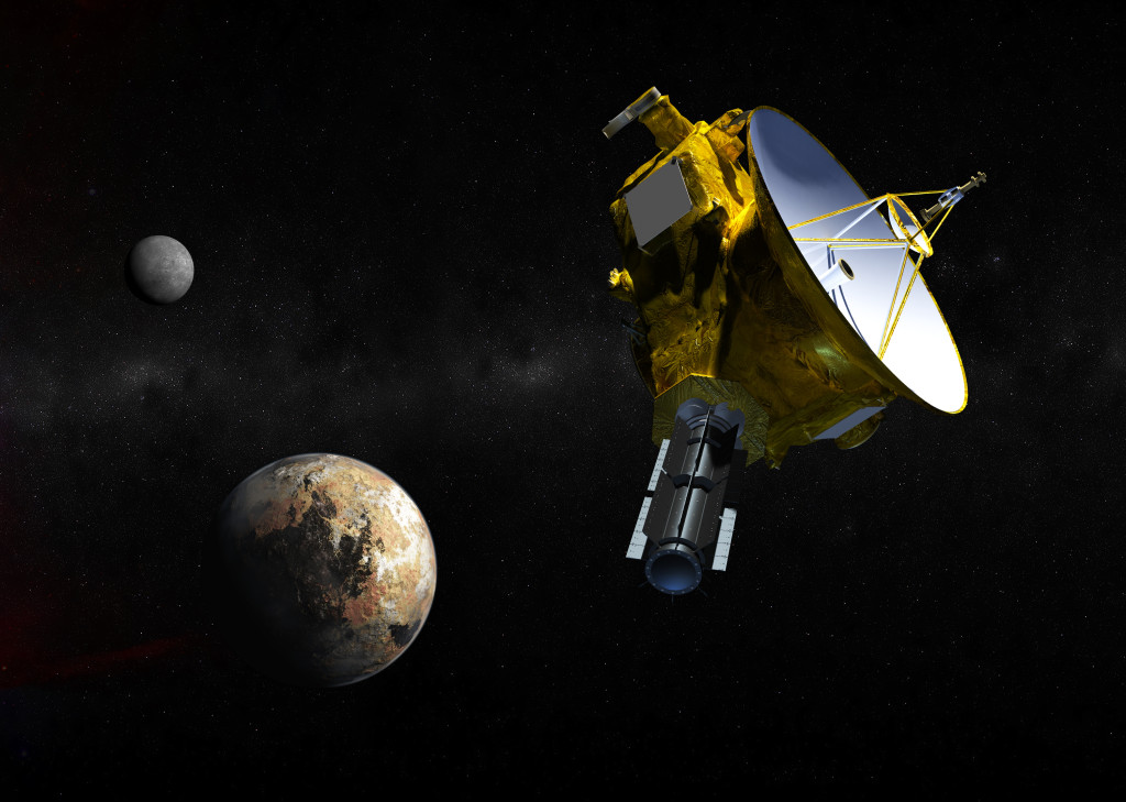 Artist's concept of the New Horizons spacecraft as it approaches Pluto and its moons in summer 2015. The craft's miniature cameras, radio science experiment, ultraviolet and infrared spectrometers and space plasma experiments would characterize the global geology and geomorphology of Pluto and large moon Charon, map their surface compositions and temperatures, and examine Pluto's atmosphere in detail. The spacecraft's most prominent design feature is a nearly 7-foot (2.1-meter) dish antenna, through which it will communicate with Earth from as far as 4.7 billion miles (7.5 billion kilometers) away. Image Credit: (JHUAPL/SwRI