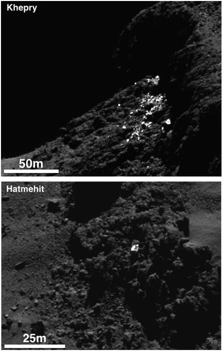 Example of a cluster of bright spots on Comet 67P/Churyumov-Gerasimenko found in the Khepry region (top) and an individual boulder with bright patches on its surface in the Hatmehit region (bottom). The bright patches are thought to be exposures of water-ice. Image Credit: ESA/Rosetta/MPS for OSIRIS Team