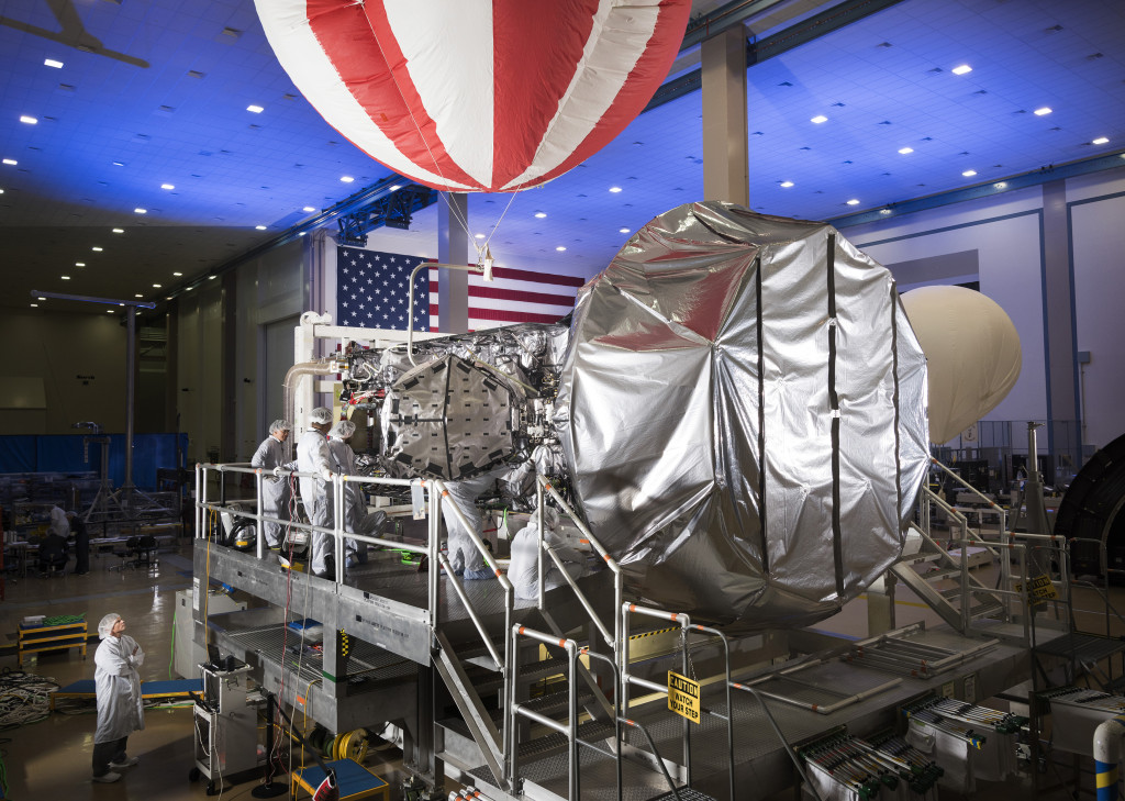 MUOS-4, the next satellite scheduled to join the MUOS network later this year, is in final assembly and test at Lockheed Martin's satellite manufacturing facility in Sunnyvale, California. Image Credit: Lockheed Martin