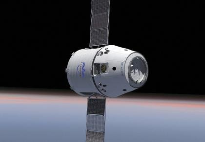 An illustration of a SpaceX Dragon spacecraft carrying hardware designed and built by CU-Boulder to the International Space Station to support biomedical experiments. Image Credit: SpaceX
