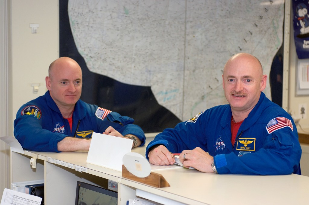 Scott Kelly (left) began a year-long mission on the International Space Station in March 2015, while his identical twin brother, retired astronaut Mark Kelly (right), remains on Earth as an experimental control. Image Credit: NASA