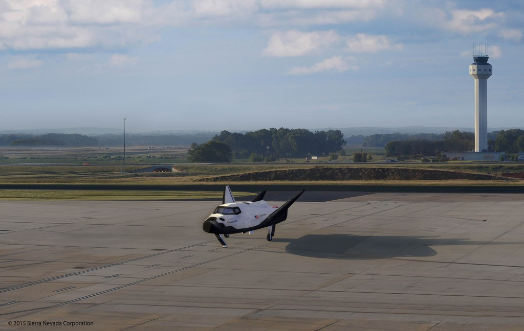 An artist's rendering of SNC's Dream Chaser Spacecraft Landed at Huntsville International Airport. Image Credit: Sierra Nevada Corporation
