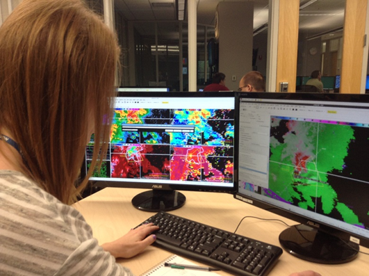 Holly Obermeier, meteorologist at KETV-TV in Omaha, Nebraska, issues a tornado warning after utilizing the GOES-R ProbSevere product. Image Credit: Holly Obermeier