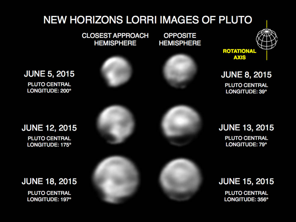 These images, taken by New Horizons' Long Range Reconnaissance Imager (LORRI), show numerous large-scale features on Pluto's surface. When various large, dark and bright regions appear near limbs, they give Pluto a distinct, but false, non-spherical appearance. Pluto is known to be almost perfectly spherical from previous data. These images are displayed at four times the native LORRI image size, and have been processed using a method called deconvolution, which sharpens the original images to enhance features on Pluto. Image Credit: NASA/Johns Hopkins University Applied Physics Laboratory/Southwest Research Institute