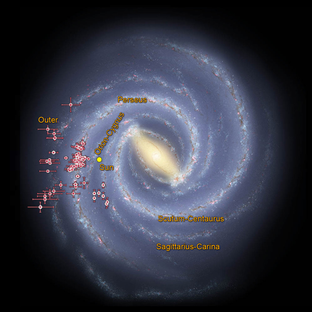 Astronomers using data from NASA's Wide-field Infrared Survey Explorer, or WISE, are helping to trace the shape of our Milky Way galaxy's spiral arms. This illustration shows where WISE data revealed clusters of young stars shrouded in dust, called embedded clusters, which are known to reside in spiral arms.
