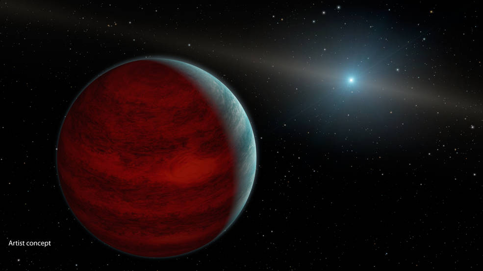 "This artist's concept shows a hypothetical ""rejuvenated"" planet -- a gas giant that has reclaimed its youthful infrared glow. NASA's Spitzer Space Telescope found tentative evidence for one such planet around a dead star, or white dwarf, called PG 0010+280 (depicted as white dot in illustration). Image Credit: NASA/JPL-Caltech"