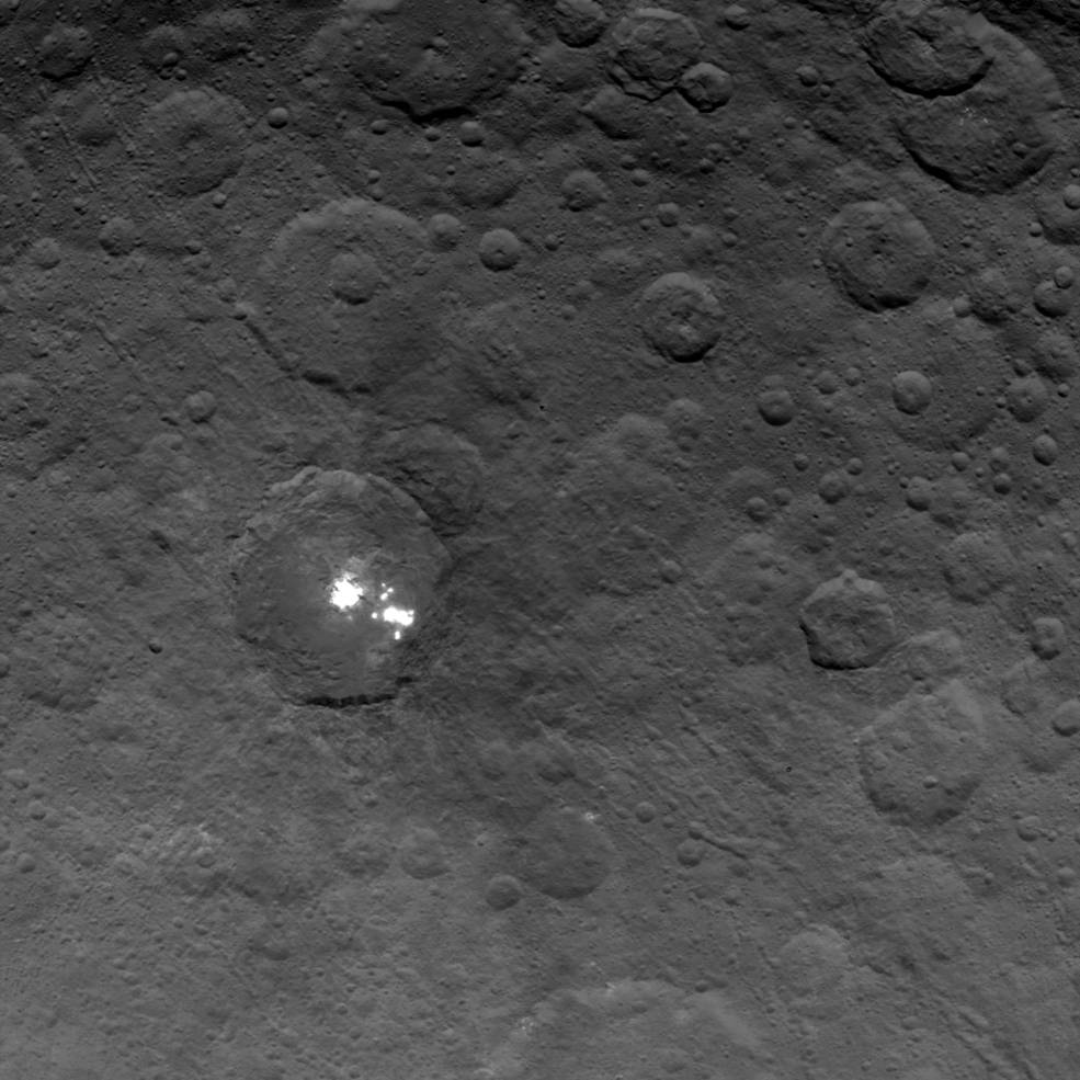 The brightest spots on dwarf planet Ceres are seen in this image taken by NASA's Dawn spacecraft on June 6, 2015. Image Credit: NASA/JPL-Caltech/UCLA/MPS/DLR/IDA