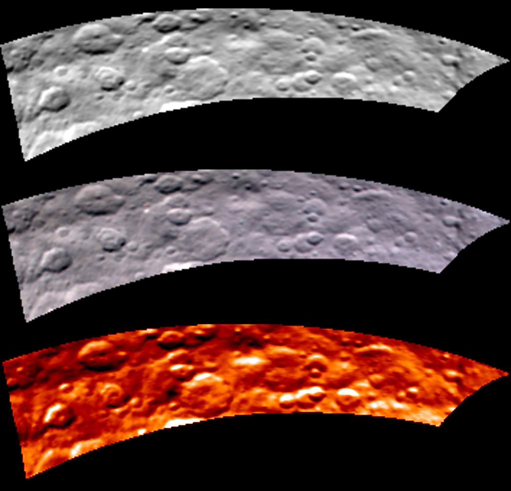 mages from Dawn's visible and infrared mapping spectrometer (VIR) show a portion of Ceres' cratered northern hemisphere, taken on May 16, 2015. Image Credit: NASA/JPL-Caltech/UCLA/ASI/INAF