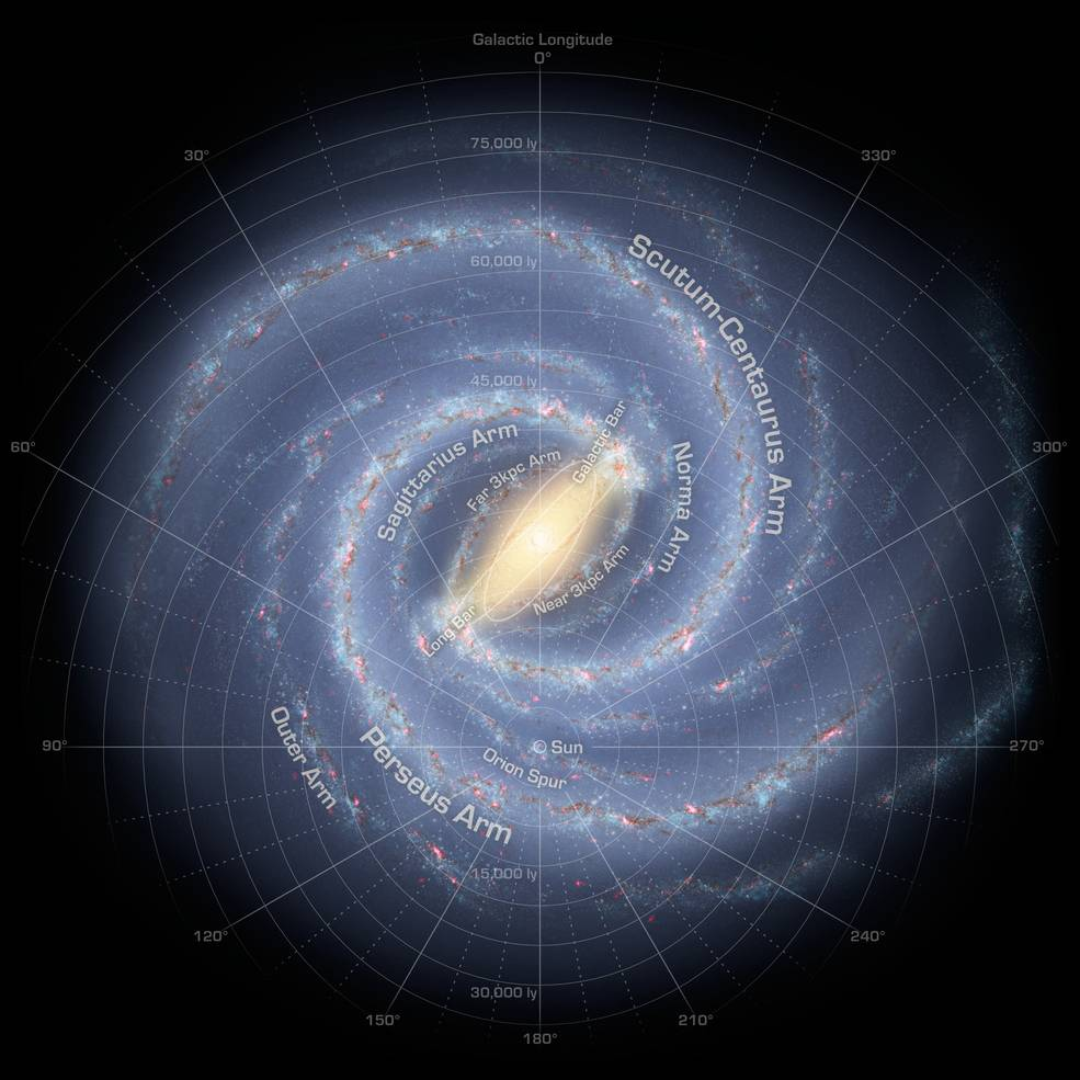 This artist's concept depicts the most up-to-date information about the shape of our own Milky Way galaxy. We live around a star, our sun, located about two-thirds of the way out from the center. Image Credit: NASA/JPL-Caltech/R. Hurt (SSC/Caltech)